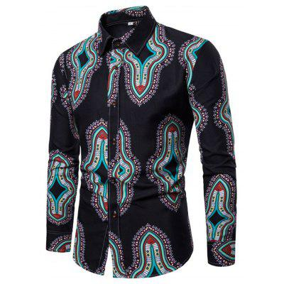 Male Long Sleeve European Floral Pattern Shirt