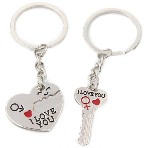 Pair of Love Heart Couple Keychains