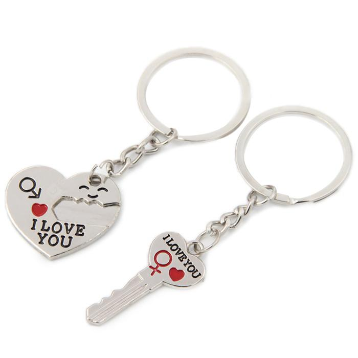 Pair of Love Heart Couple Keychains - Silver