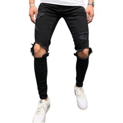 Men Fashion Zipper Knee Hole Ripped Pants Jeans
