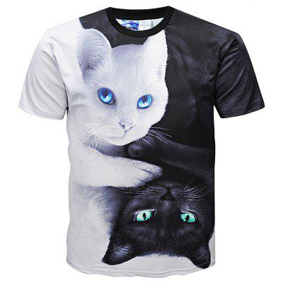 Creative 3D Cat Print Style Short Sleeve Men Shirt