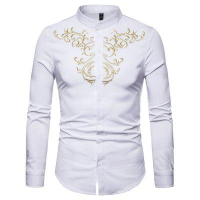Men Trendy Embroidery Stand Collar Long Sleeve Shirt