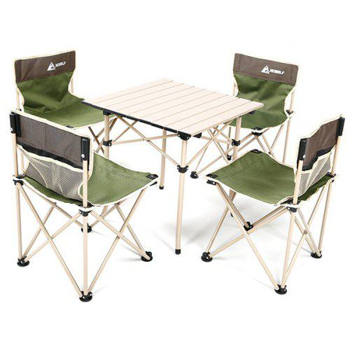 sc 1 st  Gearbest & HEWOLF Outdoor Portable Camping Folding Table Chair Set 5pcs | Gearbest
