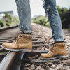 Men Outdoor Comfortable Casual Leather High-top Boots - DARK KHAKI