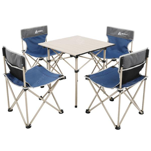 HEWOLF Outdoor Portable Camping Folding Table Chair Set 5pcs