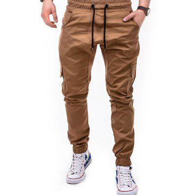Side Pockets Tether Elastic Belt Casual Beam Pants for Men