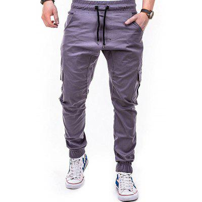 Bolsillos laterales Tether Elastic Belt Casual Beam Pants para hombres