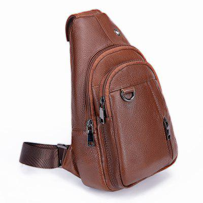 Male Vintage Stylish Solid Color Leather Chest Bag