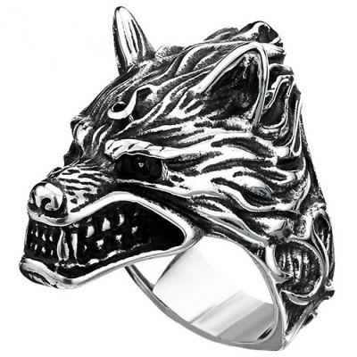 Stylish 3D Metal Wolf Pattern Men Ring