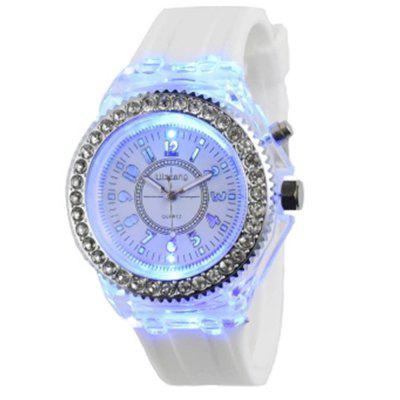 Geneva Sparkling Quartz Watch with Colorful Nightlight
