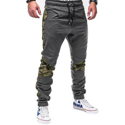 Camouflage Stitching Tether Waist Casual Pants for Men