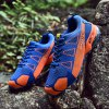 Male Breathable Matching Color Mesh Cloth Sneakers - DENIM DARK BLUE