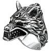Stylish 3D Metal Wolf Pattern Men Ring - SILVER
