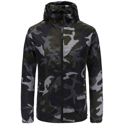 Male Fashion Camouflage Slim Fit Hooded Jacket
