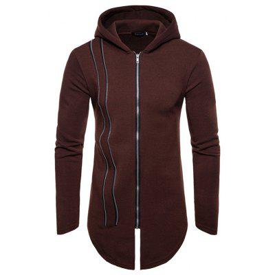 Zippered Hooded Cardigan Long Coat for Man