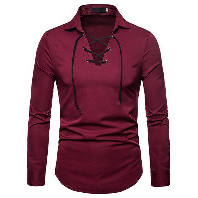 Fashion Comfortable Solid V-neck Long Sleeve Shirt