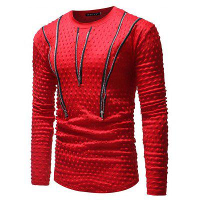 Men's Personality Multi-zip Round Neck Casual Long-sleeved Slim T-shirt