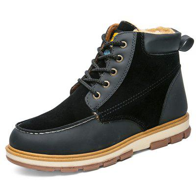 Stylish Lace-up Brushed Splicing Men Ankle Boots