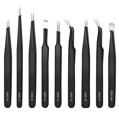 Stainless Steel ESD Anti-static Tweezer 9PCS