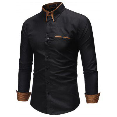 Stylish Stand Collar Long Sleeve Shirt for Man