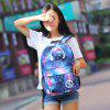 Fashionable Starry Night Nylon Backpack for Students Kids - BLUE