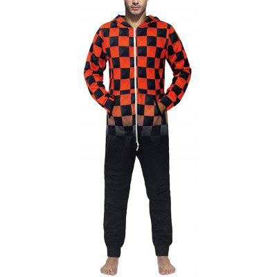 Spliced ​​Color Plaid Pattern Onesie para Hombres