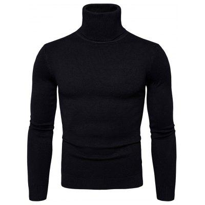 Fashion Slim Solid Color High Collar Casual Sweater for Men