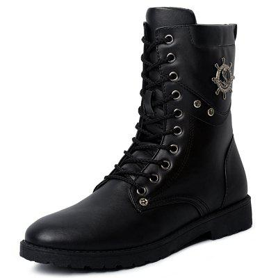 Trend Wear-resistant Lace-up High Men Leather Boots