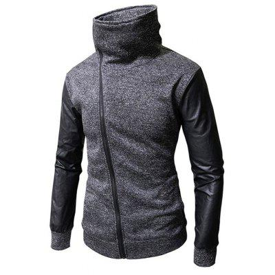 Stylish Stand Collar Oblique Zipper Hooded Men Hoodies