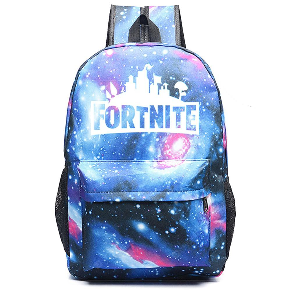 Fashionable Printed Pattern Backpack for Men and Women - BLUE