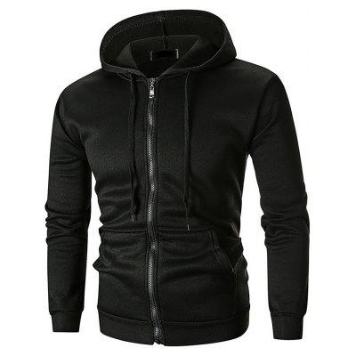 Male Stylish Solid Color Zipper Hooded Sweater