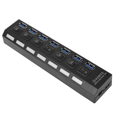 ZX - 4U004B Vertical Type 7 Port USB 3.0 Hub with Independent Switches