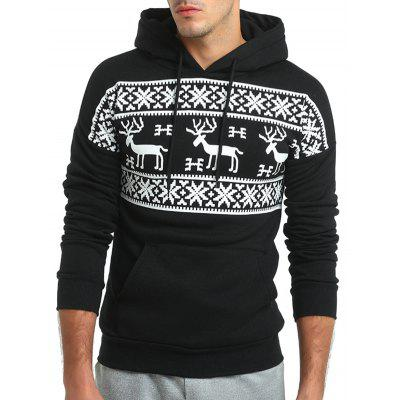 Christmas Reindeer Pattern Hoodie for Men