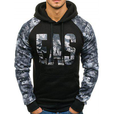 Camouflage Letters Pattern Hoodie for Men