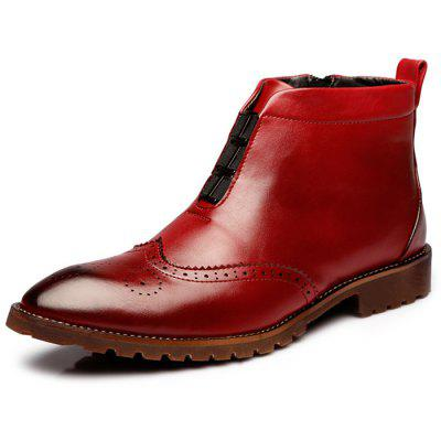 Fashionable Wing Tip Retro Design Martin Boots for Men