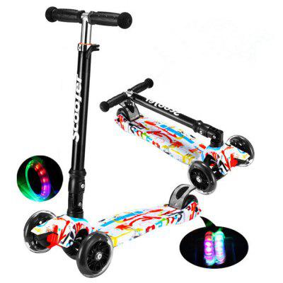 Kids Foldable Adjustable Scooter with Flash Wheel 1pc