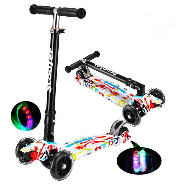 Kids Foldable Adjustable Scooter with Flash Wheel 1pc - MULTI GRAFFITI