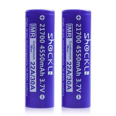 Shockli 21700 4550mAh High Drain 30A Flat Top 3.7V Rechargeable Battery 2PCS