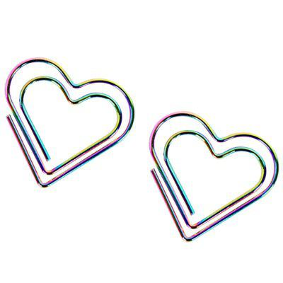 Plating Color Rainbow Love Bookmarks DIY Paper Clips 12pcs / Box