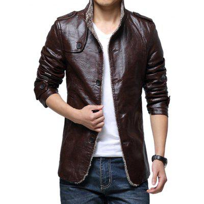 Espessamento Casual PU Leather Jacket for Men