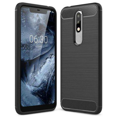 Naxtop Wire Drawing Carbon Fiber TPU Phone Back Cover Case for Nokia 5.1 Plus / Nokia X5