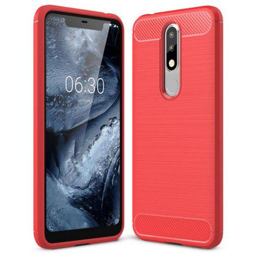 buy online 959ca 30c5b Naxtop Wire Drawing Carbon Fiber TPU Phone Back Cover Case for Nokia 5.1  Plus / Nokia X5