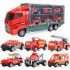 Kids Container Truck with Mini Alloy Car Model Set Toy - FIRE ENGINE RED