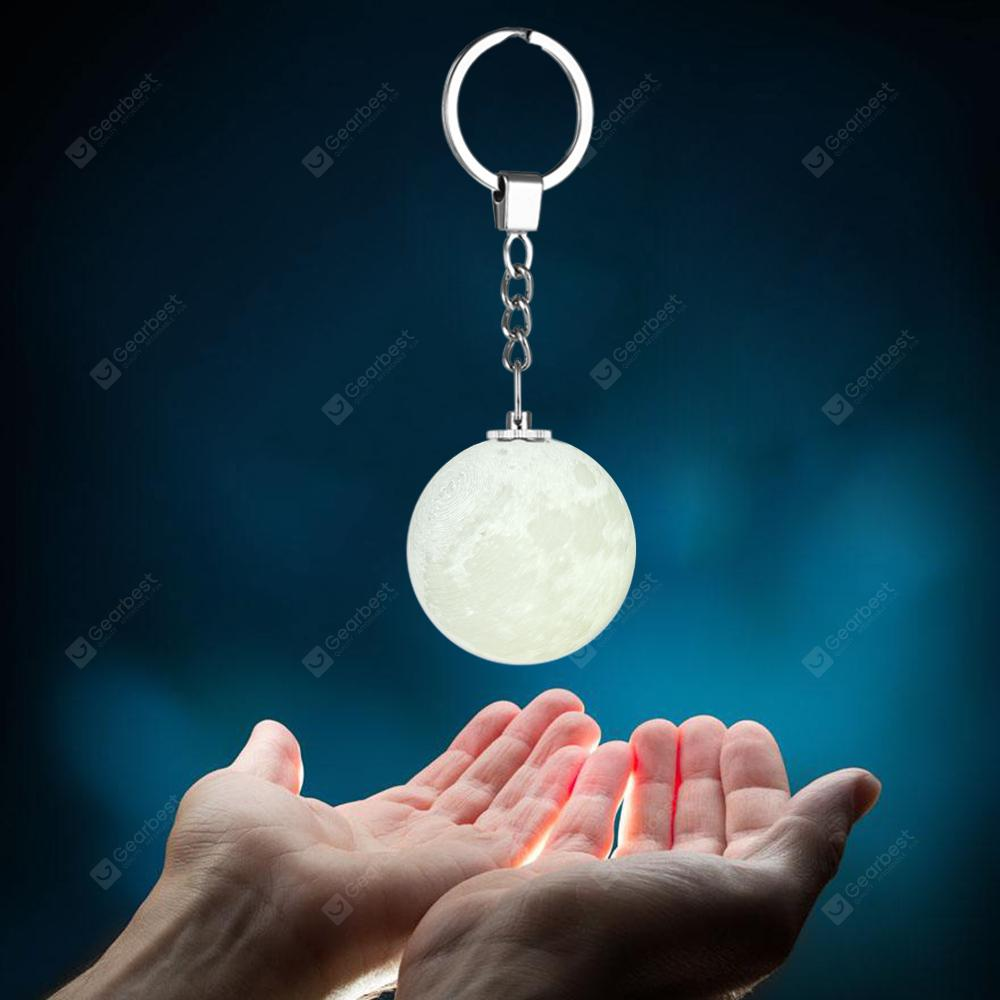 Utorch Portable 3D Moon Shape Keychain Night Light - Hvítt hvítt ljós