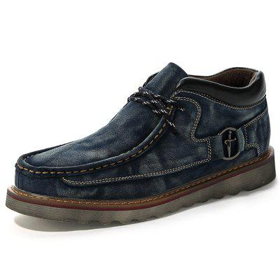 Men Retro Round Head British Casual Velvet Shoes