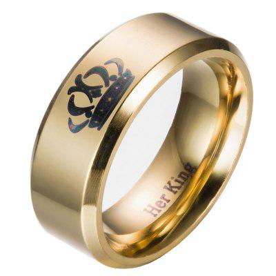 Male Crown Pattern Stainless Steel Ring with 8mm Width
