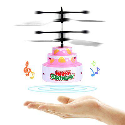 Cute Kids Inductive Music Cake Flying Toy Aircraft with Lighting