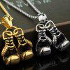 Male Boxing Glove Titanium Steel Pendant Necklace Fitness Sports - SILVER
