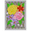 Rectangle Board with Flower Pattern Cutting Die - SILVER
