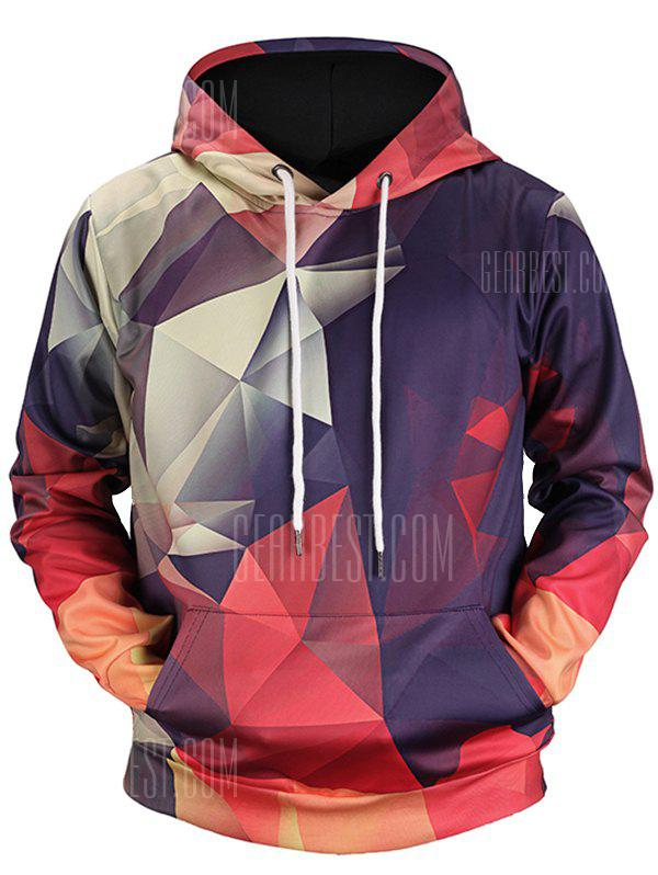 Men Leisure Geometrical Print Long Sleeve Hoodie - PURPLE HAZE M from Gearbest Image